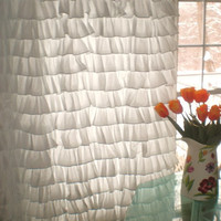 Sexy Lavish Ruffle Versatile Curtains WHITE Color Egyptian Cotton Bedding 1000TC - 40 inches by 84 inches For all Rooms