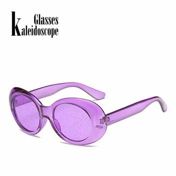 Clout Goggles Sunglasses Men Vintage NIRVANA Kurt Cobain Sun Glasses Women Clear Small Oval Glasses Spectacles