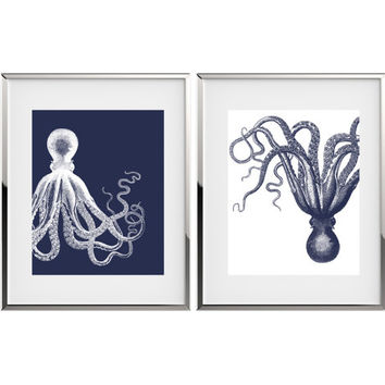 Octopus Art Nautical Decor Kraken Art Marine Print Coastal Decor Nautical Nursery Decor Kraken Print Bathroom Art Print by YassisPlace