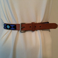 She's So Bohemian VINTAGE Indian Bead Boho Leather Belt Southwestern Style X-SMALL Anthropologie and Free People Style