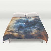 Night Moves - Partial Solar Eclipse Duvet Cover by Bruce Stanfield