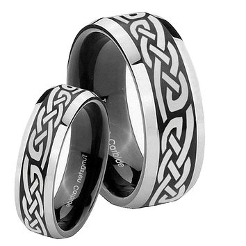His Hers Celtic Knot Infinity Love Beveled Brush Black 2 Tone Tungsten Men's Ring Set