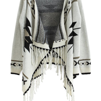 Fall Fashion Beige Long Sleeve Geometric Print Tassel Cardigan