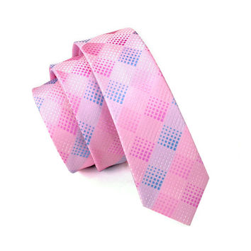 Men Ties Silk Skinny Ties For Men Slim Tie Plaid Pink Necktie