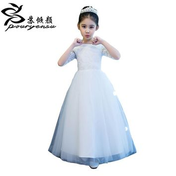 2017 Lace Appliques Flower Girl Dresses For Wedding Kid's Party Dress With Sleeves Tea Length First Communion Gown Custom Made