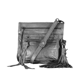 Stretta Small Leather Crossbody and Belt Hip Bag - Silver Metallic