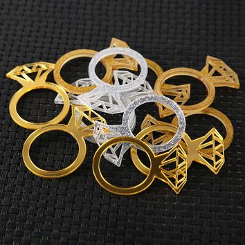 Acrylic Silver or Gold Glitter Diamond Ring Napkin Ring Decorations
