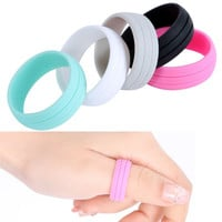 Size 8 9 10 11 12 Men Women 9mm Cozy Rubber Silicone Rings Flexible Wedding Band SM6