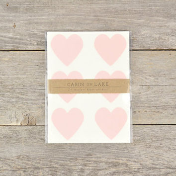 Medium Pastel Pink Heart Stickers / Heart Favors / Ballet Slipper Pink Hearts / Girl Baby Shower - 24 pc