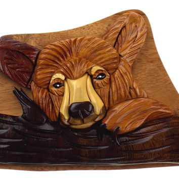 Handmade Carved Bear Intarsia Wood Puzzle Box Secret Storage Vietnam
