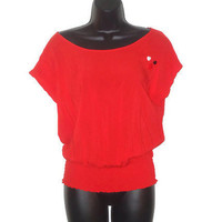 Upcycled Lightweight Eco Fashion Conservative Red Top with Heart Accent Buttons Womens Size Large