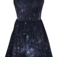 ROMWE | White Peter Pan in Galaxy Print Dress, The Latest Street Fashion