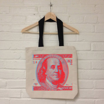 Ben Franklin 3D Red and Green Organic Recycled Cotton Canvas Tote Bag