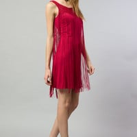 Long Fringe Trim Knit Dress