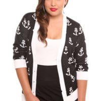 Torrid Retro Chic - Black and White Anchor Deep V-Neck Cardigan | Tops