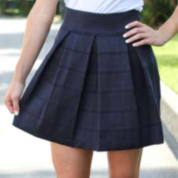 Simply Scalloped Skirt : Navy