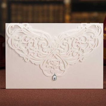 1Set Design 8 Color Laser Cut Flower Lace Wedding invitations Cards