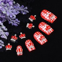 Yesurprise 10pcs Red Crown 3D Alloy Rhinestones Nail Art Glitters Slices DIY Decoration