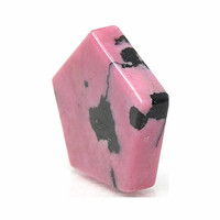 Graphic Vivid Pink Rhodonite Pentagon,  Two Sided Flat Cabochon Natural Mineral Loose Jewelry Stone