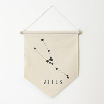 """Constellation Personalized Wall Banner, 11""""x13"""", Custom Wall Flag, Custom Pennant, Wall Hanging, Astrological Sign Art, Star Art"""