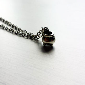 Tiny Cauldron Pendant Necklace in Silver Tone - Cauldron Charm - Witch Jewelry - Witchcraft Jewelry - Pagan Jewelry - Occult Jewelry - Magic