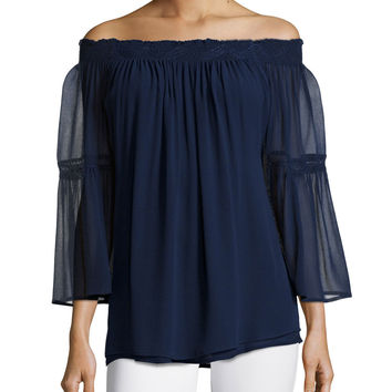 Off-The-Shoulder Sheer-Sleeve Top,