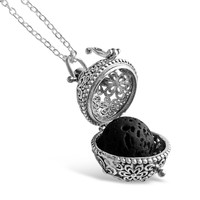 Lava Stone Aromatherapy Necklace - Antique Silver Flower Balls With Essential Oil Diffuser Locket