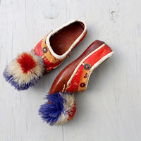 Vintage Greek Opanke Tsarouhi Pompom Shoes - Children Shoes - Hand Stitched Leather - Red White & Blue Pompoms