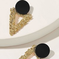 Two Tone Textured Triangle Stud Earrings 1pair