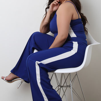 Plus Size Side Stripe Sleeveless Top with Palazzo Pants Set | UrbanOG