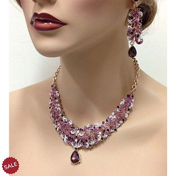 Purple Marsala Crystal Necklace & Earrings Bridal Jewelry Set