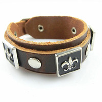 Adjustable Punk Leather Rivets Bracelet  mens bracelet cool bracelet jewelry bracelet bangle bracelet  cuff bracelet 2583S