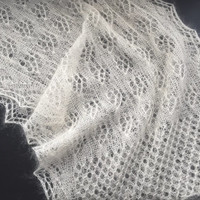 Hand knitted lace silk mohair, white shawl.