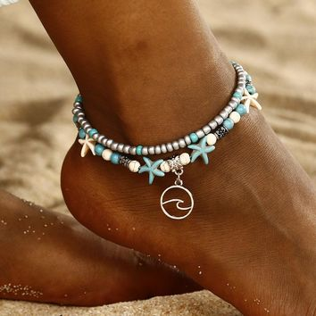 Starfish Cute Women Ankle Bracelet Ladies Anklet Ankle Chain Leg Jewelry Gold Silver Color