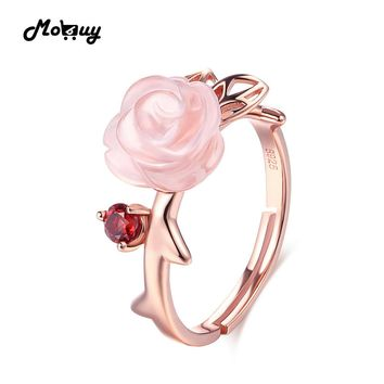 MoBuy MBRI025 Special Pink Flower Natural Gemstone Rose Quartz Ring 925 Sterling Silver Gold Plated Adjustable Jewelry For Women