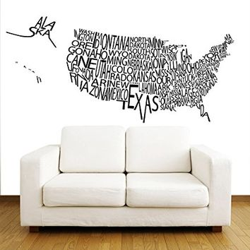 Wall Decal Vinyl Sticker Decals Art Home Decor Murals Decal United States US World Map Map of The World Map Counrty Word Sign Travel Office Bedroom Dorm Decals V1078