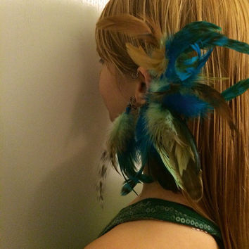 Chalchiuhtlicue ocean goddess handmade feather ear cuff, tribal, aztec, hippie, bohemian, festival, long feathers, hair extension, spirit