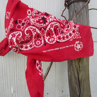 Vintage Red Paisley Bandana, Made in USA // Vintage Scarf // Red Handkerchief