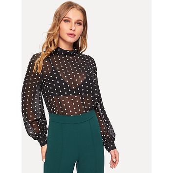 Polka Dot Sheer Chiffon Blouse
