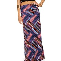Purple Quilted Maxi Skirt