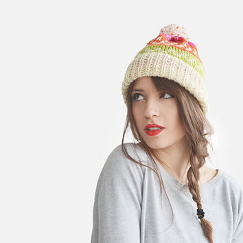 Fair isle ski beanie hat with fluffy pom pom in bright colours / Hand Knitted