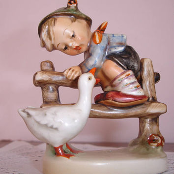 "Hummel figurine, circa 1948,  Western Germany, Boy with duck, Fine porcelain, Collectible hummel figurine, ""Barn Yard Hero"", Goebel Hummel"
