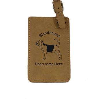 L1792 Bloodhound Standing Personalized Luggage Tag