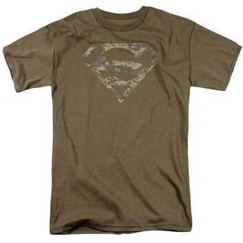 ac NOOW2 Superman - Army Camo Shield Short Sleeve Adult 18/1