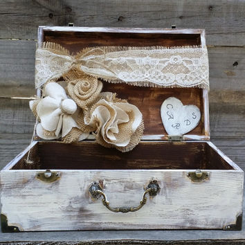 Personalized Rustic Wedding Lace Card Box