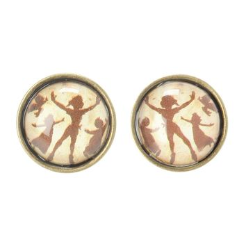 Licensed cool NEW Disney Peter Pan Lost Boy Flying Silhouette Pierced Stud Earrings Jewelry