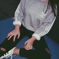 Adidas Fashion Print Round Neck Top Sweater Pullover Sweatshirt