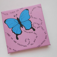 Customizable Verse & Colors - Butterfly Painting - First we had eachother, Then we had you, Now we have everything - Hand Painted 6x6 canvas