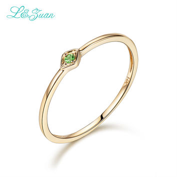 L&Zuan 14K Yellow Gold 0.029ct Natural Round Small Rings for Women Green Gremstone Diaspore Party Ring Fine Jewelry Princess