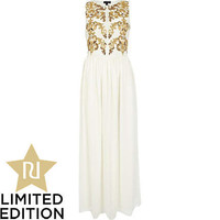 Cream embellished maxi dress